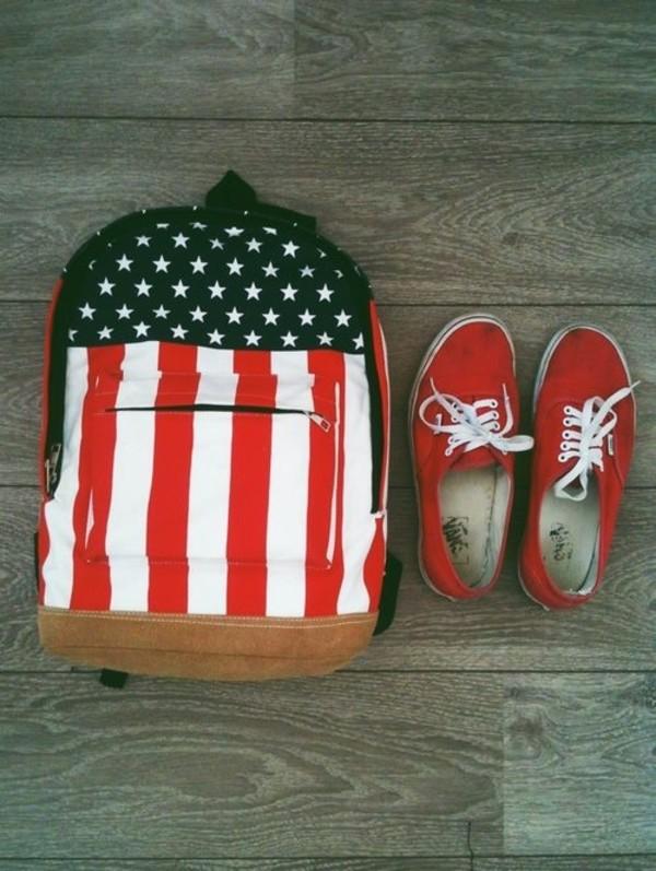 bag american flag backpack vans red
