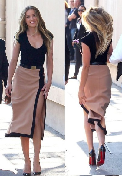 midi skirt skirt amber heard sexy tops high heels