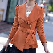 coat,long sleeves,orange,short