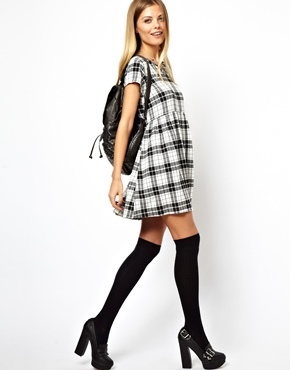 ASOS | ASOS Smock Dress In Mono Check at ASOS