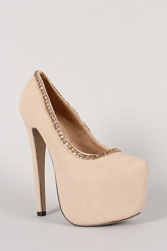 Nelly-14 Chain Almond Toe Platform Pump