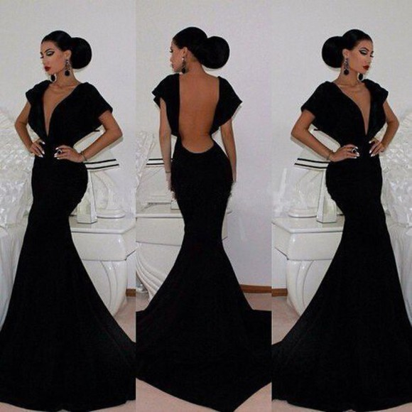 hairstyles make-up black dress