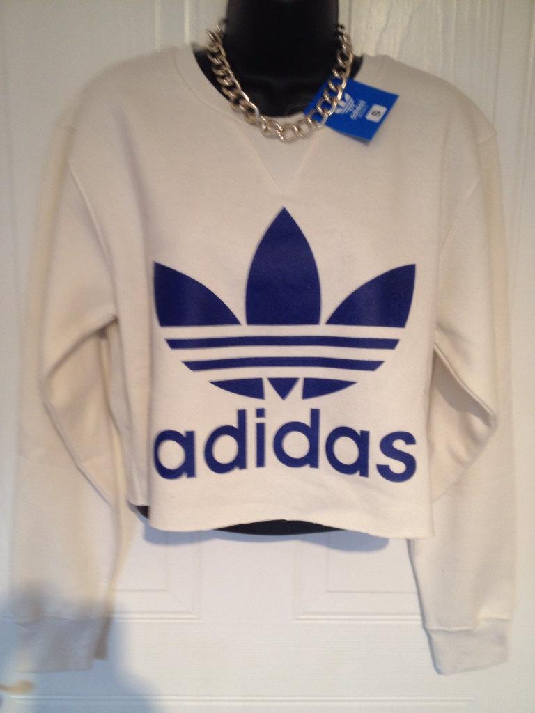 unisex customised adidas cropped sweatshirt t shirt sz medium grunge festival fashion