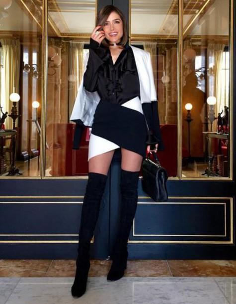 jacket blazer olivia culpo fashion week 2016 paris fashion week 2016 skirt top black and white
