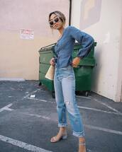 top,denim top,tumblr,blue top,denim,peplum,jeans,blue jeans,sandals,all blue,All denim outfit,sunglasses