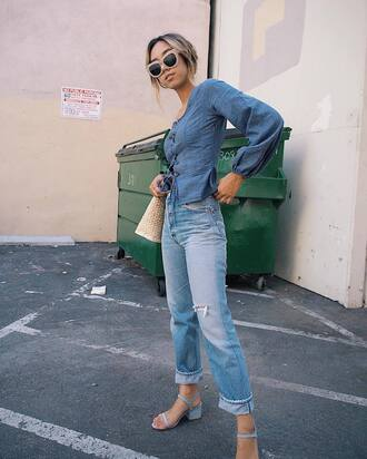 top denim top tumblr blue top denim peplum jeans blue jeans sandals all blue all denim outfit sunglasses
