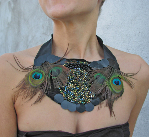 peacock jewels jewelry necklace beaded peacock feathers beads satin black jewelry bib necklace handmade necklace handmade earth tone bohemian style bohemian gypsy gypsy necklace feathers warm/earthtone accessory black christmas hippie boho