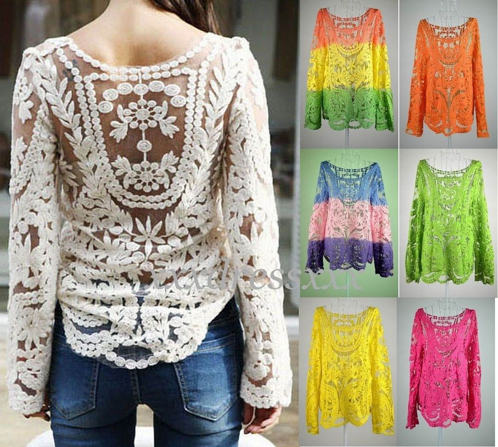 Women Semi Sheer Sleeve Embroidery Floral Lace Crochet Tee T Shirt Top Blouse | eBay