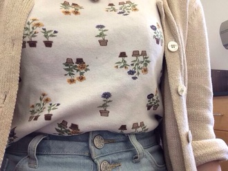 shirt t-shirt plants floral floral shirt flowers floral dress white shirt tumblr tumblr outfit tumblr clothes tumblr shirt tank top white top knit cute beige white indie plant pots floral top flowers and plants cardigan baige sunflower pretty girl 80s style vintage grunge natural blouse top sweater shorts high waisted shorts floral skirt cute top outfit white floral shirt aesthetic hipster pastel summer spring flower shirt white sweater floral sweater