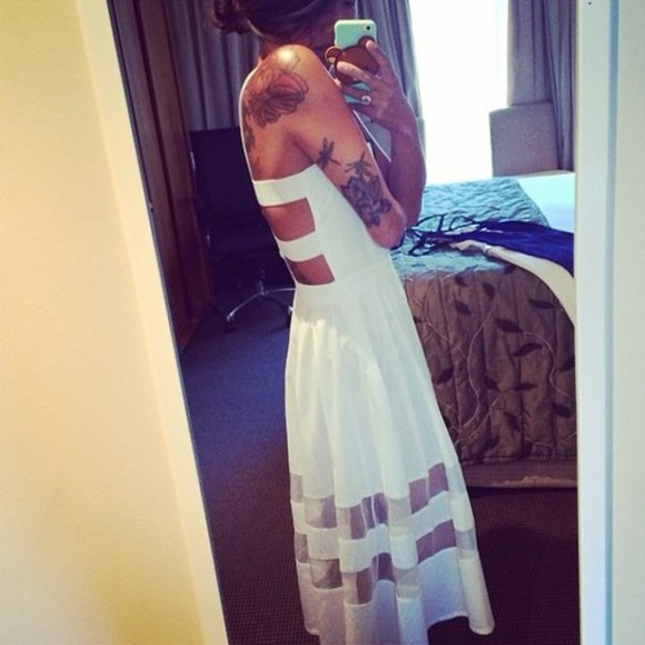 dress cut out cut out dress cute white white dress long beach beach dress tatoos wheretoget?