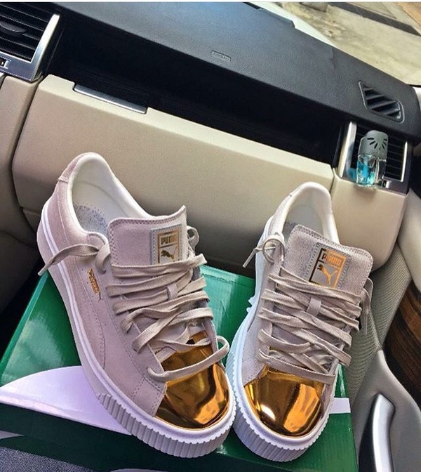 separation shoes 3d6bc c07f5 Puma Suede Platform Sneakers In White With Gold Toe Cap at ...