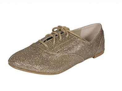 499 lace up oxford flats in champagne glitter: shoes