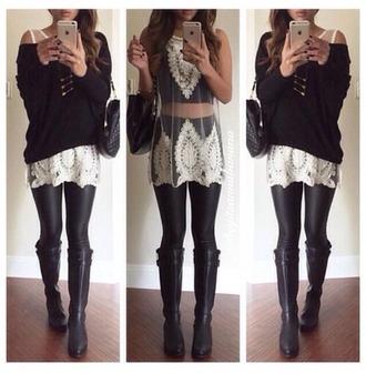 blouse shear crochet cream