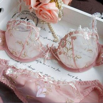 underwear lacy pink french mauve lace lingerie set mesh lingerie set see through bra sheer pastel pink gold light pink see through bra see through lingerie floral pretty lace lingerie sexy lingerie