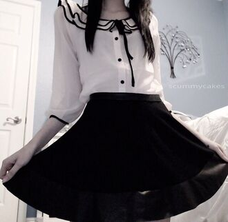 blouse kawaii dark kawaii grunge soft grunge black and white black white lace silk pastel goth emo goth lolita kawaii in the streets kawaii dress gothic lolita skirt ruffle now bow button up shirt cute shirt