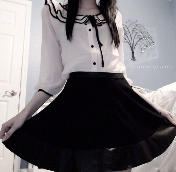 blouse kawaii dark kawaii kawaii grunge soft grunge black and white black white lace silk pastel goth emo goth goth lolita kawaii in the streets kawaii dress kawaii dark gothic lolita skirt ruffle now bow button up shirt cute shirt