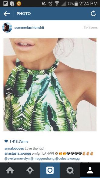 tank top green top white and green tan summer jungle print tropical swimwear california girl beauty