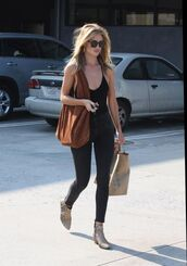 top,reformation,bodysuit,black bodysuit,jeans,black jeans,rosie huntington-whiteley,celebrity style,celebrity,model,model off-duty,boots,ankle boots,flat boots,bag,brown bag for school,sunglasses,black sunglasses,spring outfits,mid heel boots,animal face print