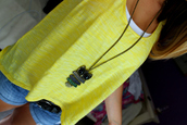 owl,multicolor,necklace,jellow,denim shirt,white,racerback tanktop,top,tank top,jewels
