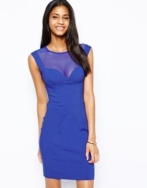 Hybrid | Hybrid Pencil Dress with Mesh Neck at ASOS