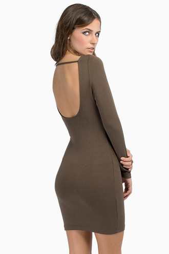 dress tobi tobi.com long sleeves long sleeve dress backless backless dress olive green bodycon bodycon dress cut-out cute dress cute