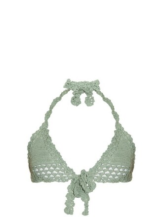 bikini bikini top crochet bikini triangle crochet light green swimwear