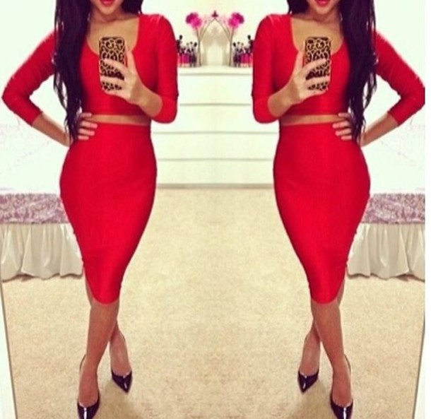 dress red crop two-piece