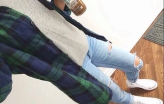 top flannel shirt flannel shirt style fashion grey gray jeans ripped jeans