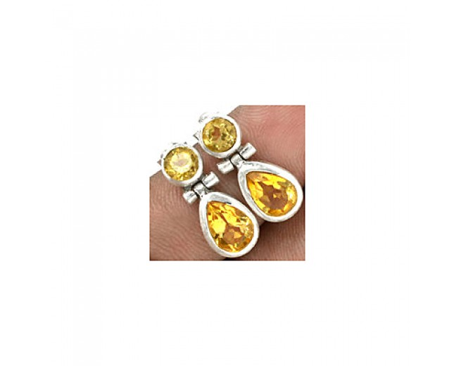 Beautiful 925 sterling silver Gemstone Citrine Stud