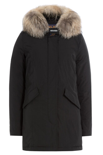 parka fur luxury black coat