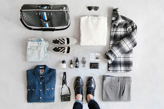cup of couple blogger shirt flannel shirt grey pants shoes sunglasses sweater jacket jeans pants jewels
