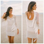 dress,haute rogue,crochet dress,white dress,lace dress,cover up,beach dress,summer dress,mini dress,tassel dresses,fringed dress
