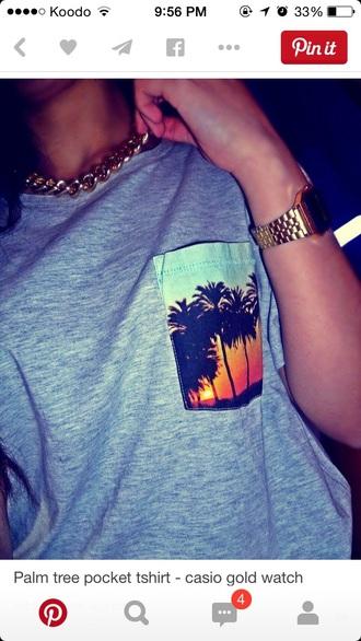 shirt palm tree print t-shirt fashion vacation pocket t-shirt