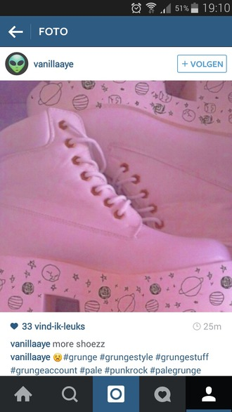 shoes pink shoes grunge shoes kawaii shoes alien shoes space pastel platforms chunky heels boots