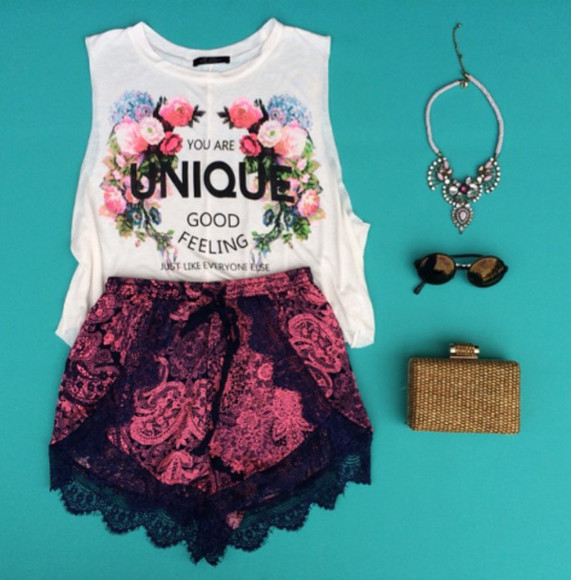 clothes white t-shirt cute top shorts, fashion, floral, outfit, pretty, beautiful, love, shorts tribal lace floral print shirt statement necklace jewelry necklace cute elegant casual chic