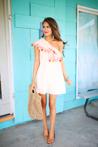 southern curls and pearls blogger jewels white dress summer dress mini dress strappy heels one shoulder date outfit beach dress