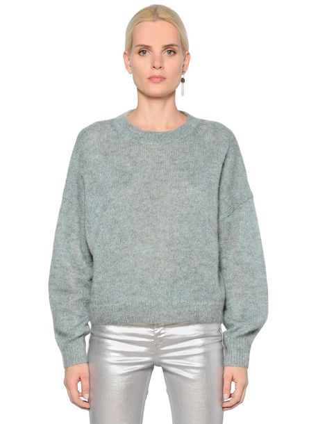 sweater loose knit fit mohair wool light green