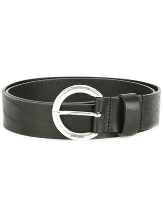 women classic belt leather brown
