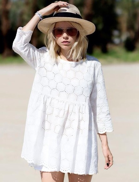 tunic dress lace white dress hat