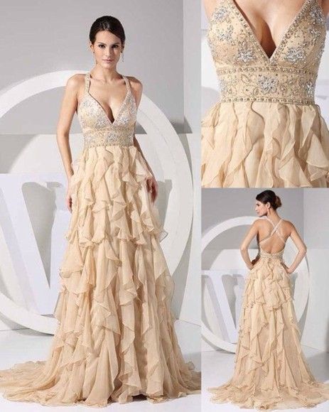 dress ruffles prom long jewels sparkle fancy dinner party straps tan prom dress