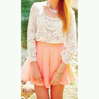skirt peach mini flare hight waisted blouse