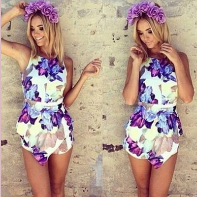 The latest round collar sleeveless printed flower sexy conjoined shorts dress · tourtown · Online Store Powered by Storenvy