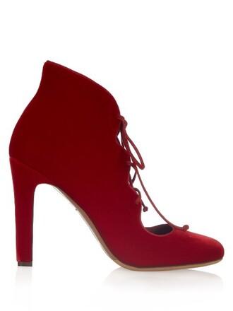 pumps lace velvet red shoes