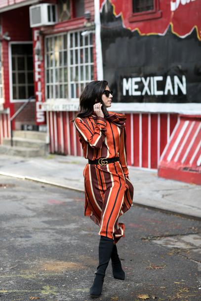 dress tumblr stripes striped dress midi dress long sleeves long sleeve dress orange orange dress boots black boots belt