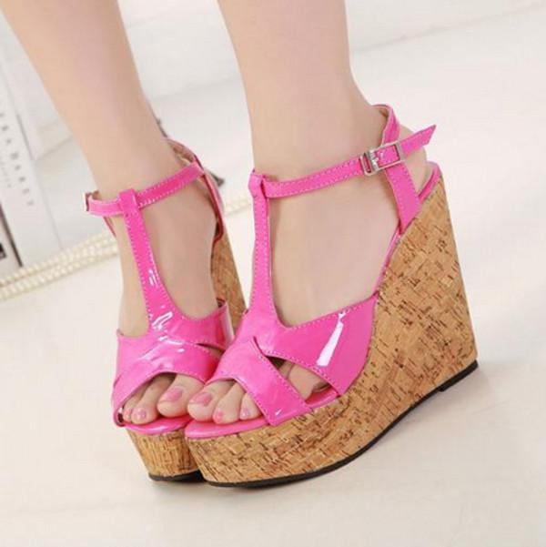 shoes rose black wedges high heel summer t strap. Black Bedroom Furniture Sets. Home Design Ideas