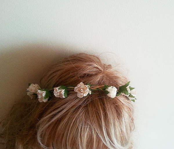 dress woodland wedding wedding rustic wedding wedding headpiece flower crown boho hair flowers flowers flower headband hair hair accessory hipster wedding