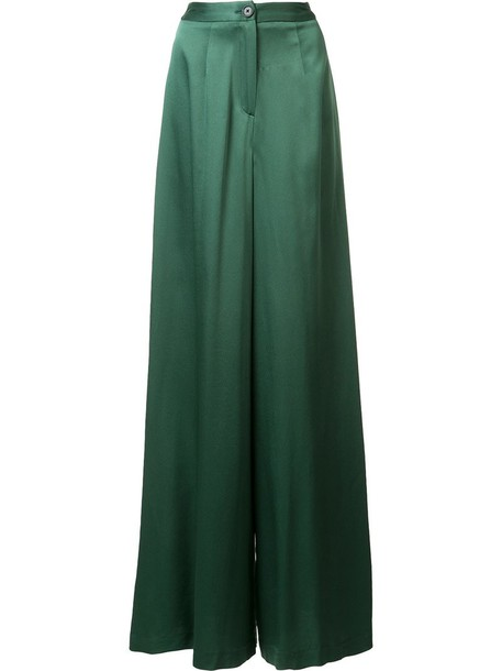 Tome pants palazzo pants women silk green