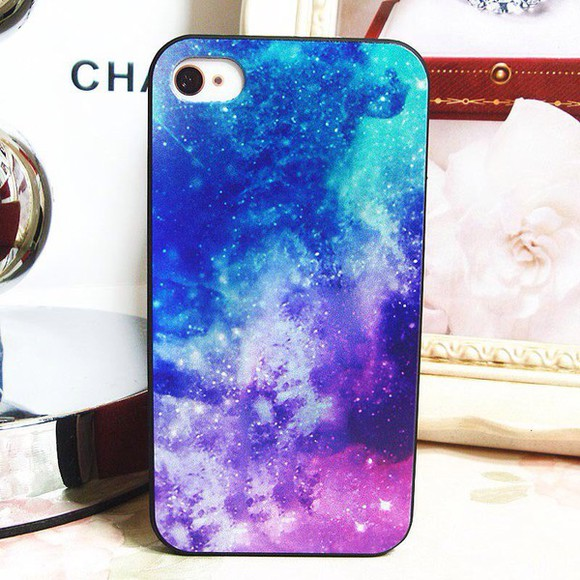 galaxy print phone case purple