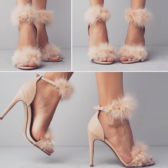 shoes pink fur heels furry heels high heel sandals