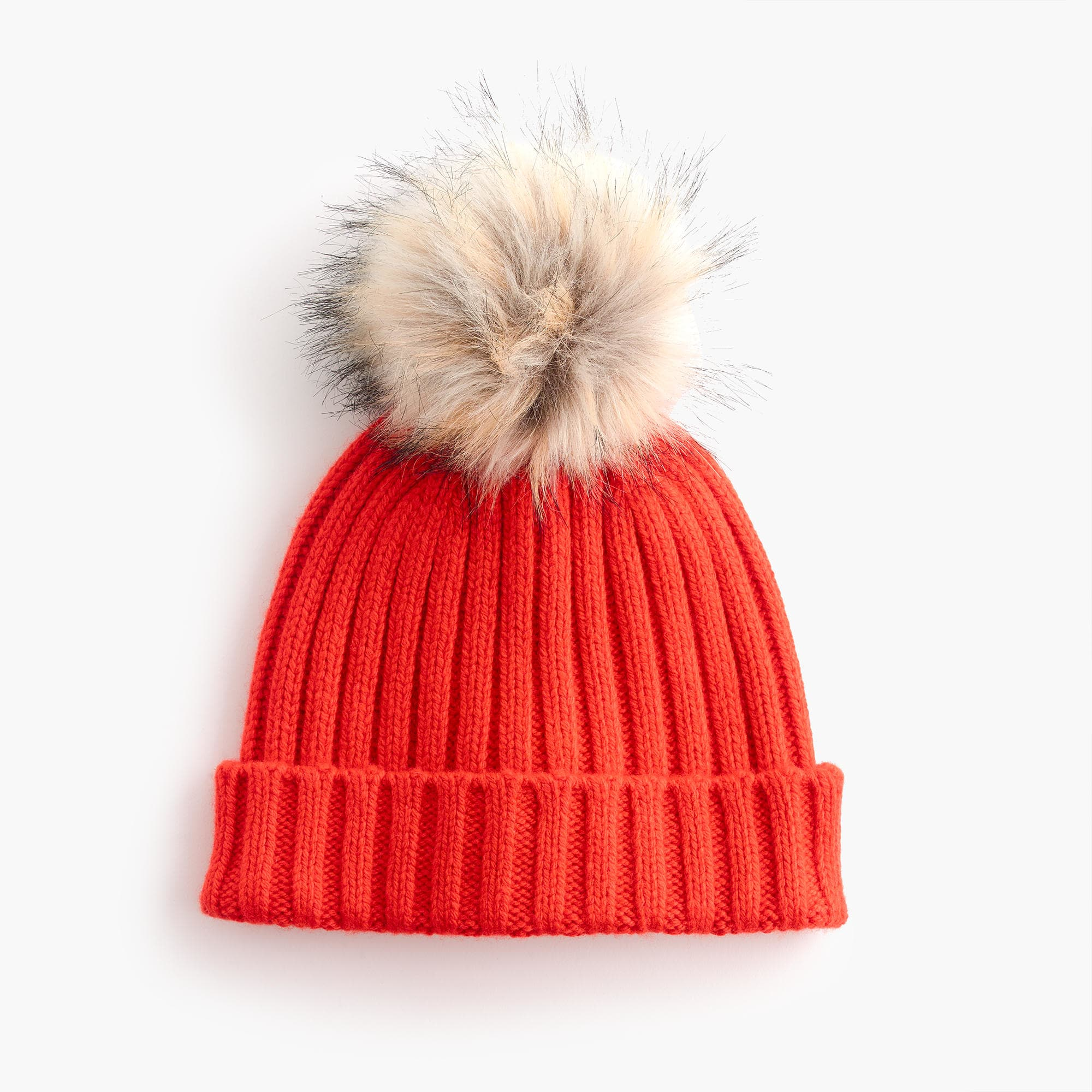 Ribbed beanie with faux-fur pom-pom